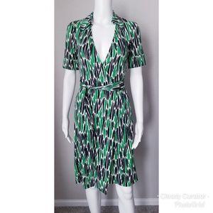 DVF white, black & green wrap dress